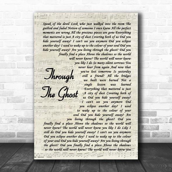 Shinedown Through The Ghost Vintage Script Song Lyric Print