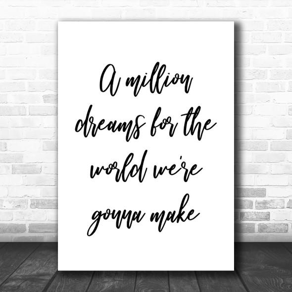The Greatest Showman A Million Dreams Song Lyric Music Wall Art Print