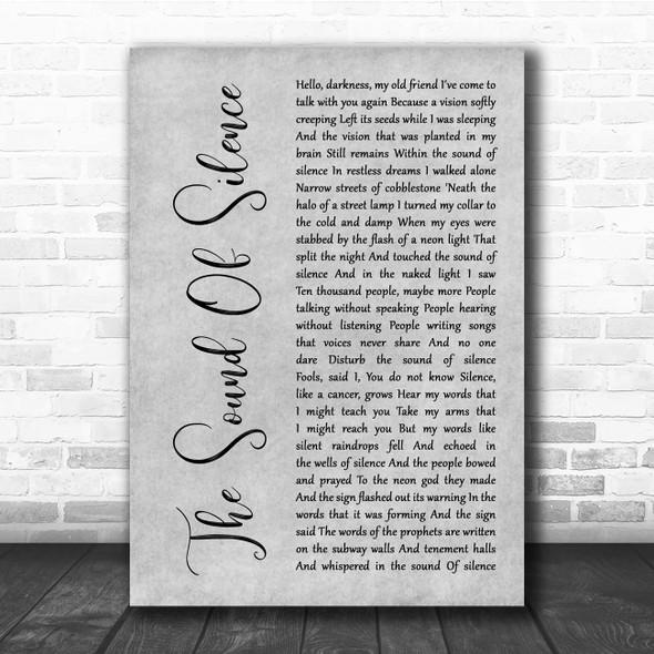 Simon & Garfunkel The Sound Of Silence Grey Rustic Script Song Lyric Print