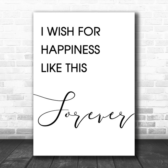 The Greatest Showman Happiness Like This Forever Song Lyric Music Wall Art Print
