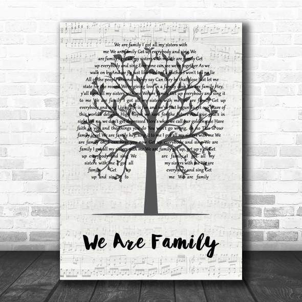 Sister Sledge We Are Family Music Script Tree Song Lyric Print