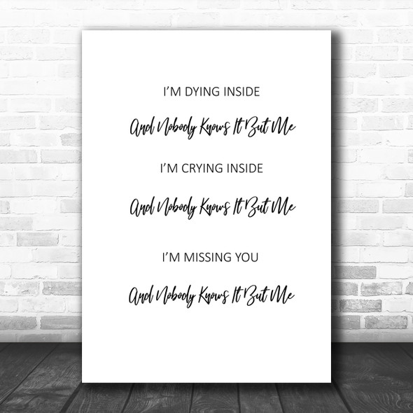 Tony Rich Project Nobody Knows Song Lyric Music Wall Art Print