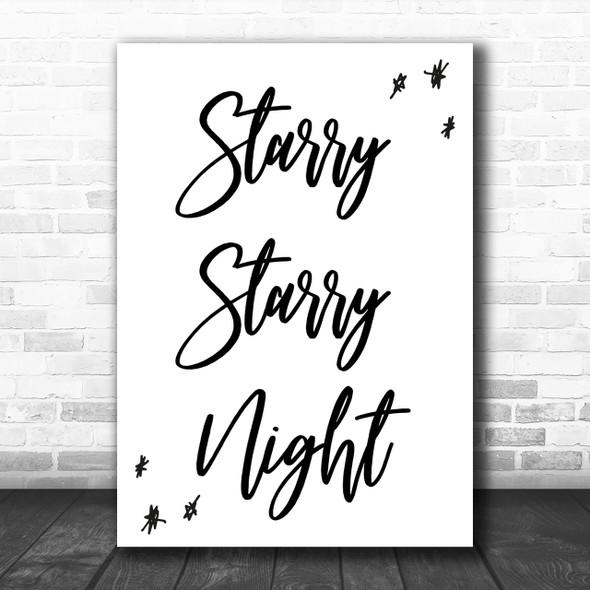 Vincent Starry Starry Night Song Lyric Music Wall Art Print