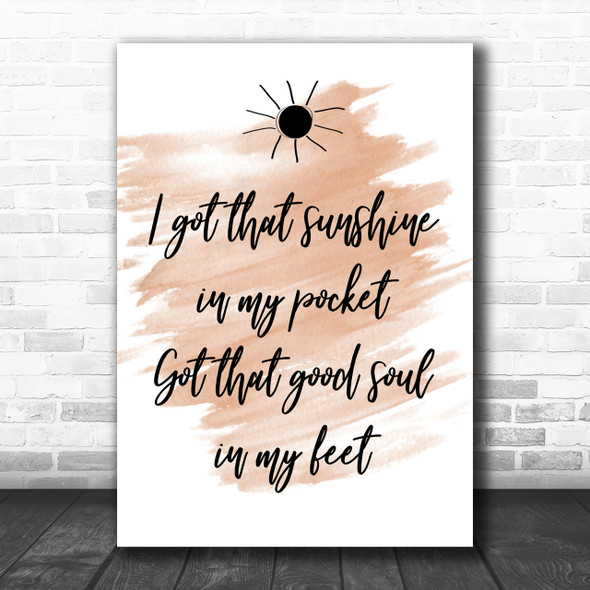 Watercolour Can't Stop The Feeling Justin Timberlake Song Lyric Music Wall Art Print