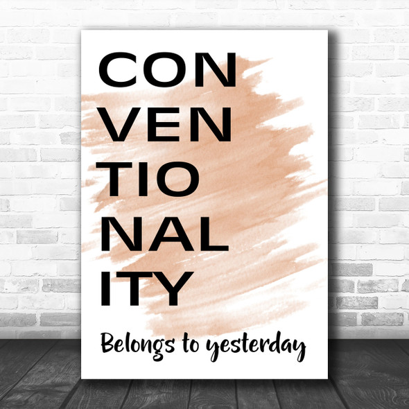 Watercolour Grease Conventionality Belongs To Yesterday Song Lyric Music Wall Art Print
