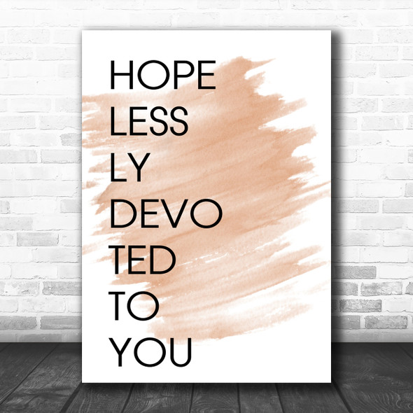 Watercolour Grease Hopelessly Devoted To You Song Lyric Music Wall Art Print