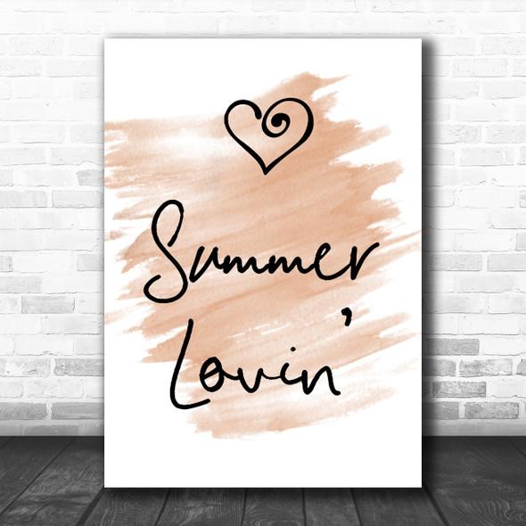 Watercolour Grease Summer Lovin' Song Lyric Music Wall Art Print