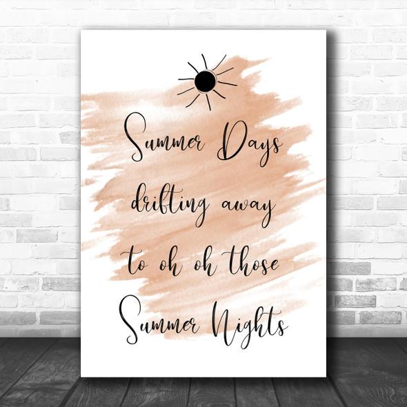 Watercolour Grease Summer Nights Song Lyric Music Wall Art Print