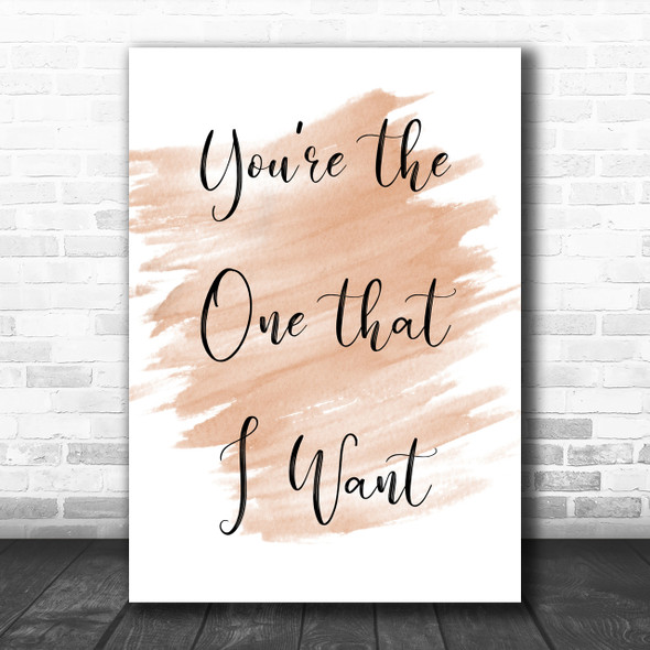 Watercolour Grease You're The One That I Want Song Lyric Music Wall Art Print