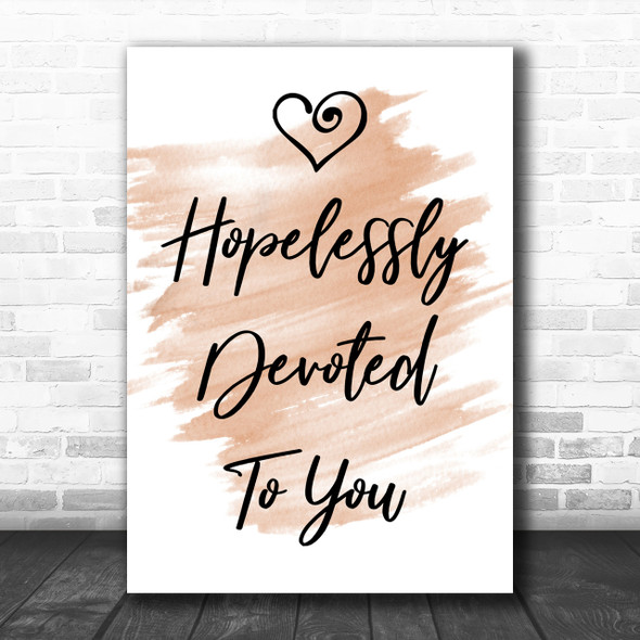 Watercolour Hopelessly Devoted To You Grease Song Lyric Music Wall Art Print