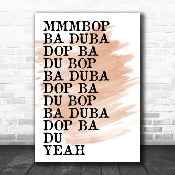 Watercolour Mmmbop Funny Song Lyric Music Wall Art Print