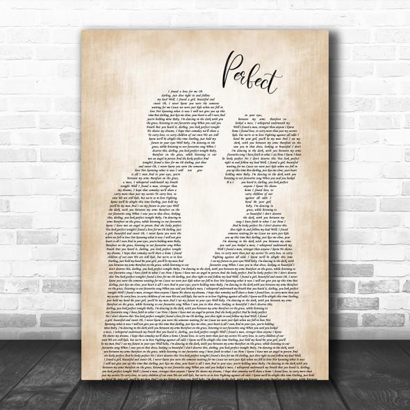 Ed Sheeran & Beyonce Perfect Man Lady Bride Groom Wedding Song Lyric Music Wall Art Print