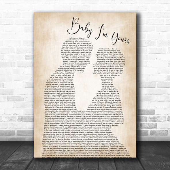 Arctic Monkeys Baby I'm Yours Man Lady Bride Groom Wedding Song Lyric Music Wall Art Print