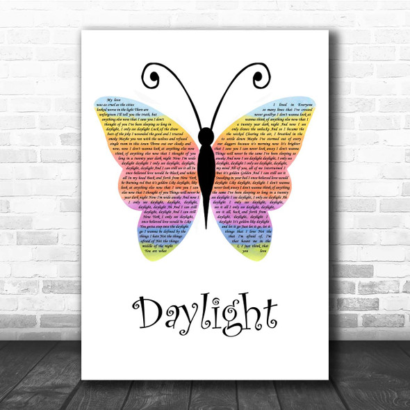 Taylor Swift Daylight Rainbow Butterfly Song Lyric Print