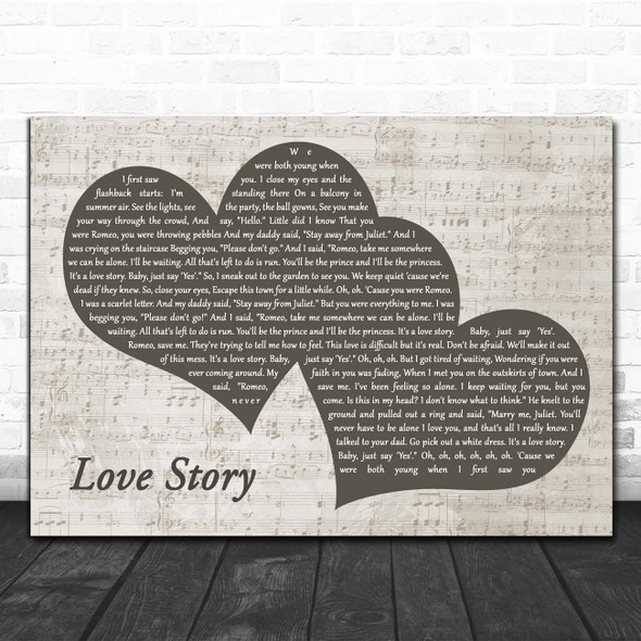 Taylor Swift Love Story Landscape Music Script Two Hearts Song Lyric Print