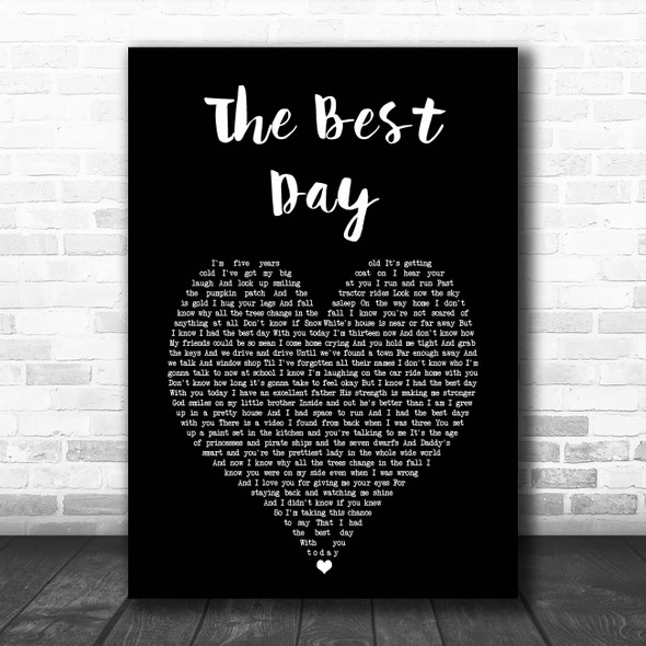 Taylor Swift The Best Day Black Heart Song Lyric Print