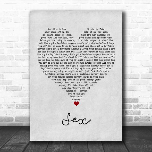 The 1975 Sex Grey Heart Song Lyric Print