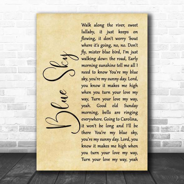 The Allman Brothers Band Blue Sky Rustic Script Song Lyric Print