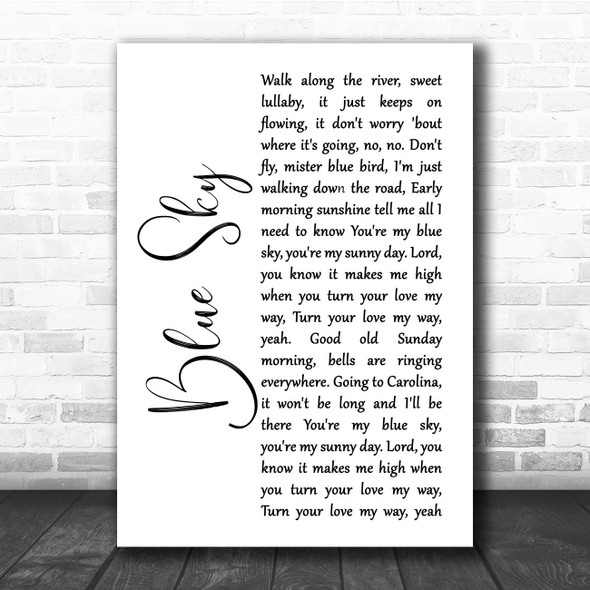 The Allman Brothers Band Blue Sky White Script Song Lyric Print