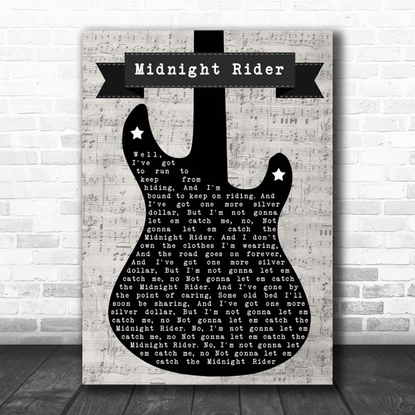 The Allman Brothers Band Midnight Rider Electric Guitar Music Script Song Lyric Print