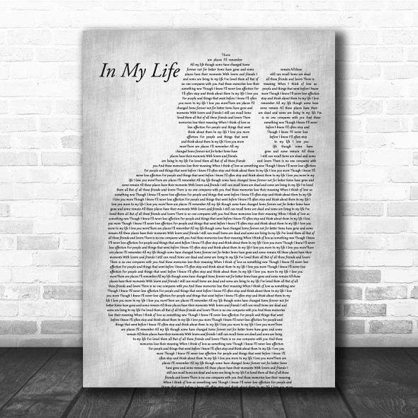 The Beatles In My Life Father & Baby Grey Song Lyric Print
