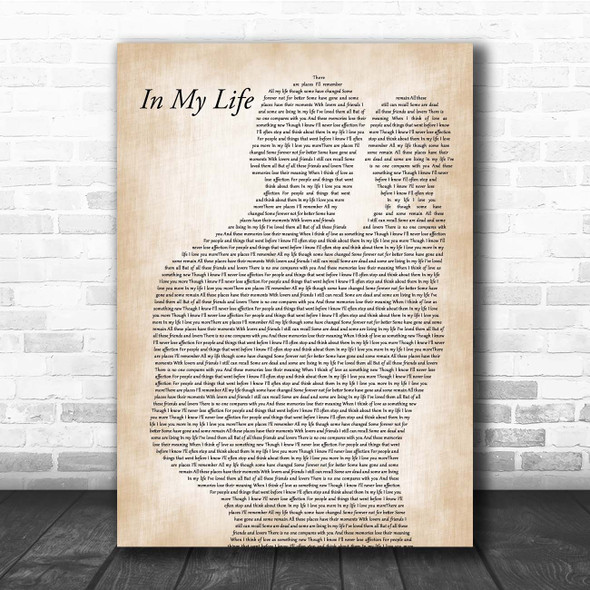 The Beatles In My Life Father & Baby Song Lyric Print
