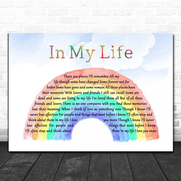 The Beatles In My Life Watercolour Rainbow & Clouds Song Lyric Print