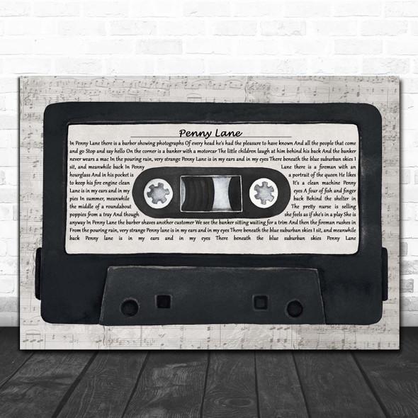 The Beatles Penny Lane Music Script Cassette Tape Song Lyric Print