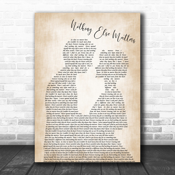 Metallica Nothing Else Matters Song Lyric Man Lady Bride Groom Wedding Music Wall Art Print