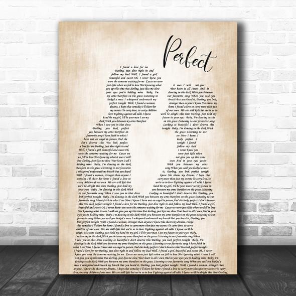 Ed Sheeran Perfect Song Lyric Man Lady Bride Groom Wedding Music Wall Art Print