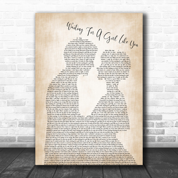 Foreigner Waiting For A Girl Like You Man Lady Bride Groom Song Lyric Music Wall Art Print