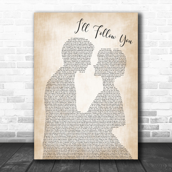 Shinedown I'll Follow You Man Lady Bride Groom Wedding Song Lyric Music Wall Art Print