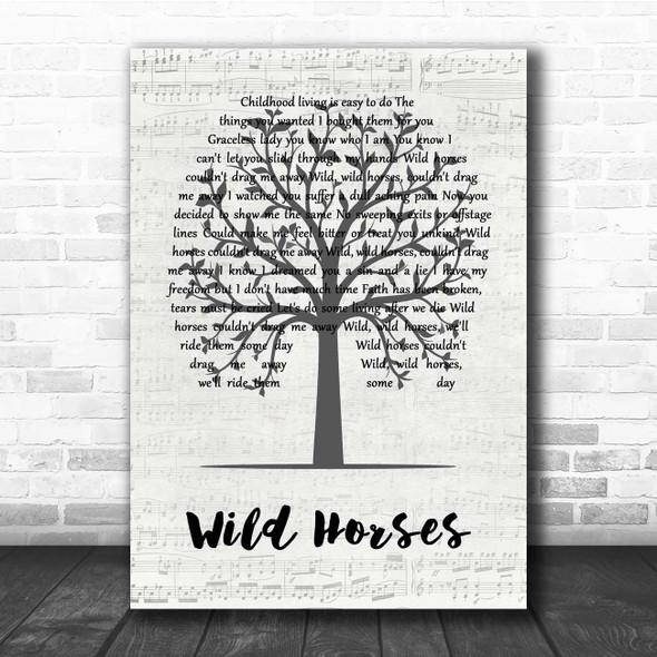 The Rolling Stones Wild Horses Music Script Tree Song Lyric Print