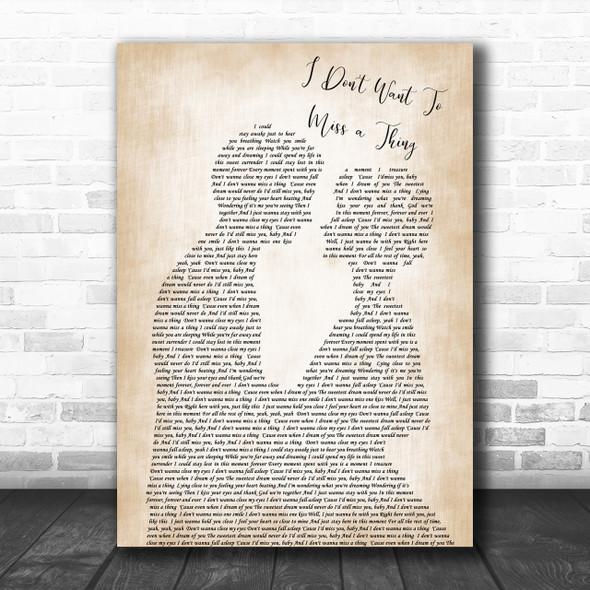 Aerosmith I Don't Want To Miss A Thing Song Lyric Man Lady Wedding Music Wall Art Print