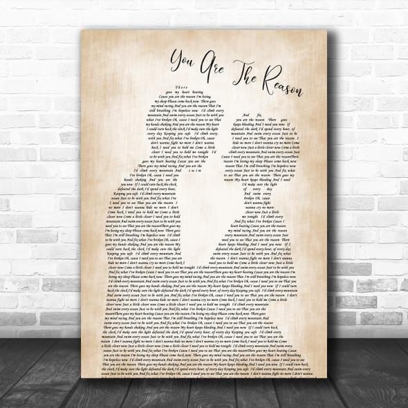 Calum Scott You Are The Reason Man Lady Bride Groom Wedding Song Lyric Music Wall Art Print