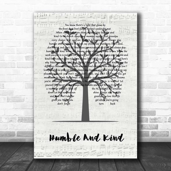 Tim McGraw Humble And Kind Music Script Tree Song Lyric Print