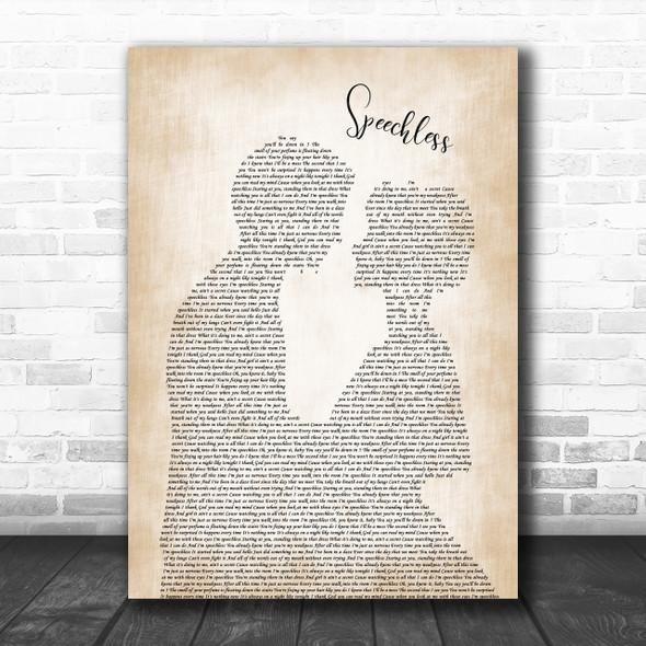 Dan + Shay Speechless Song Lyric Man Lady Bride Groom Wedding Music Wall Art Print