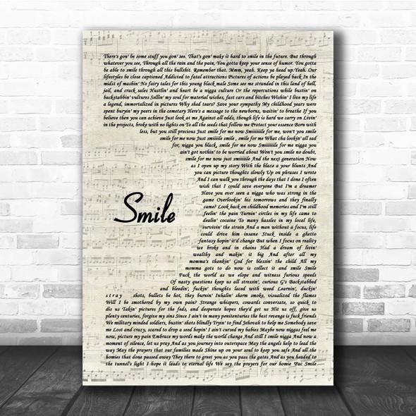 Tupac Shakur Smile Vintage Script Song Lyric Print