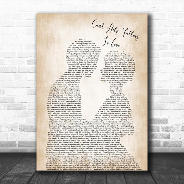 Elvis Presley Can't Help Falling In Love Song Lyric Man Lady Wedding Music Wall Art Print
