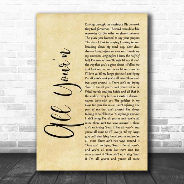 Tyler Childers All Your'n Rustic Script Song Lyric Print