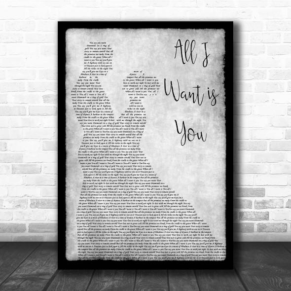U2 All I Want is You Grey Man Lady Dancing Song Lyric Print
