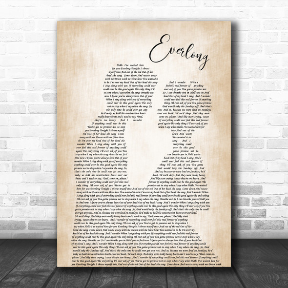 Foo Fighters Everlong Song Lyric Man Lady Bride Groom Wedding Music Wall Art Print