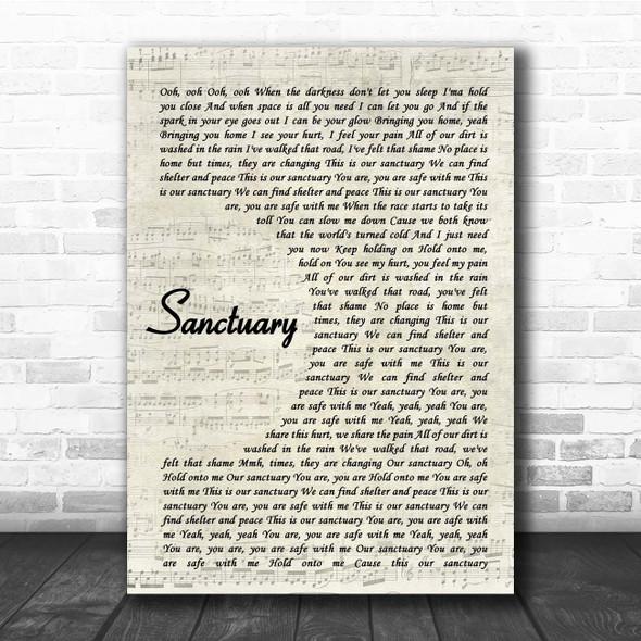 Welshly Arms Sanctuary Vintage Script Song Lyric Print