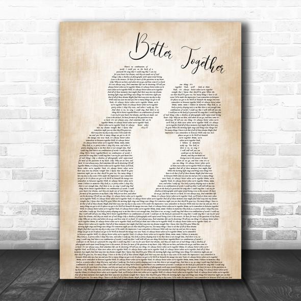 Jack Johnson Better Together Man Lady Bride Groom Wedding Song Lyric Music Wall Art Print