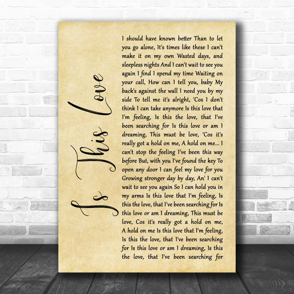 Whitesnake Is This Love Rustic Script Song Lyric Print