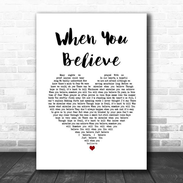 Whitney Houston & Mariah Carey When You Believe White Heart Song Lyric Print