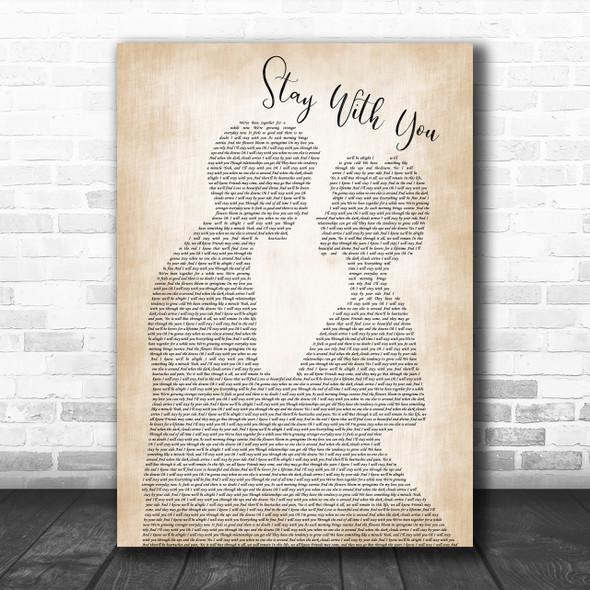 John Legend Stay With You Man Lady Bride Groom Wedding Song Lyric Music Wall Art Print