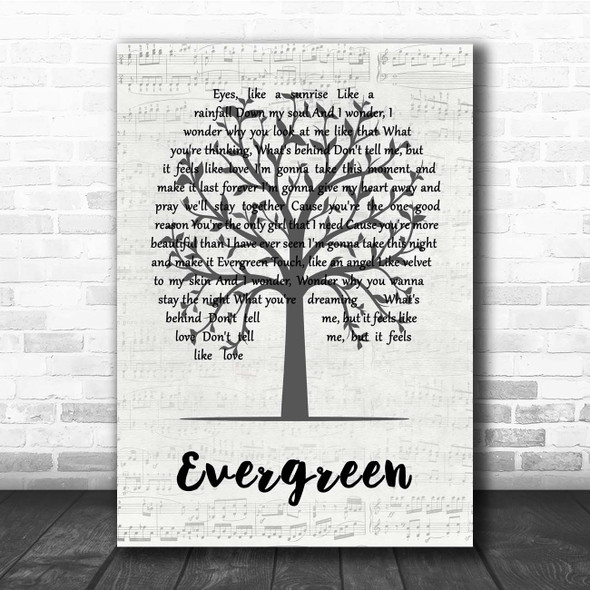 Will Young Evergreen Music Script Tree Song Lyric Print