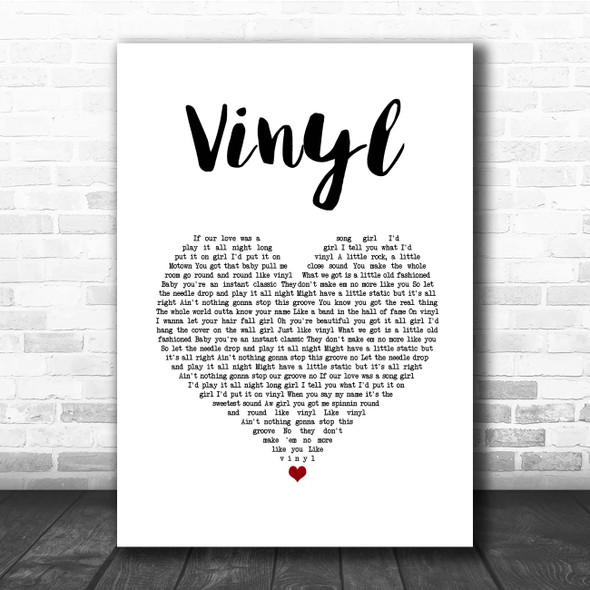 William Michael Morgan Vinyl White Heart Song Lyric Print