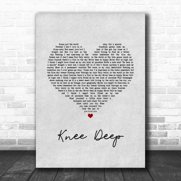 Zac Brown Band Knee Deep Grey Heart Song Lyric Print